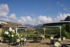Garden view at Sani Pass Hotel